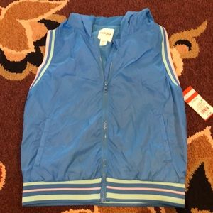 Blue vest with stripes and pockets